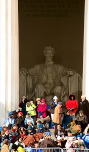 People gathered at the Lincoln Memorial to watch the historic inauguration of Pres. Barack Obama