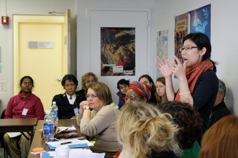 Elizabeth Lee of the WCC speaks at an Ecumenical Women Advocacy Meeting